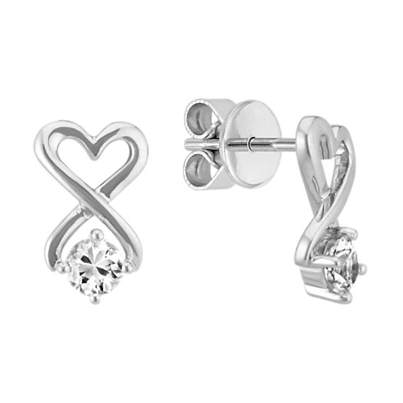 Round White Sapphire and Sterling Silver Heart Earrings