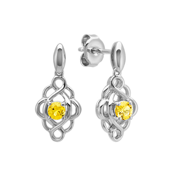 Round Yellow Sapphire Swirl Earrings