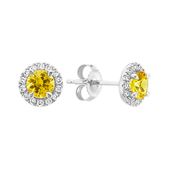 Round Yellow Sapphire and Diamond Halo Earrings in 14k White Gold
