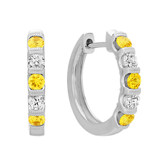 Round Yellow Sapphire and Round Diamond Hoop Earrings in 14k White Gold