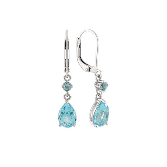 Round and Pear-Shaped Sky Blue Topaz Dangle Earrings