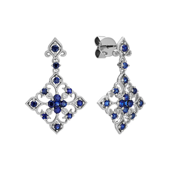 Round and Princess Cut Traditional Sapphire and Round Diamond Earrings