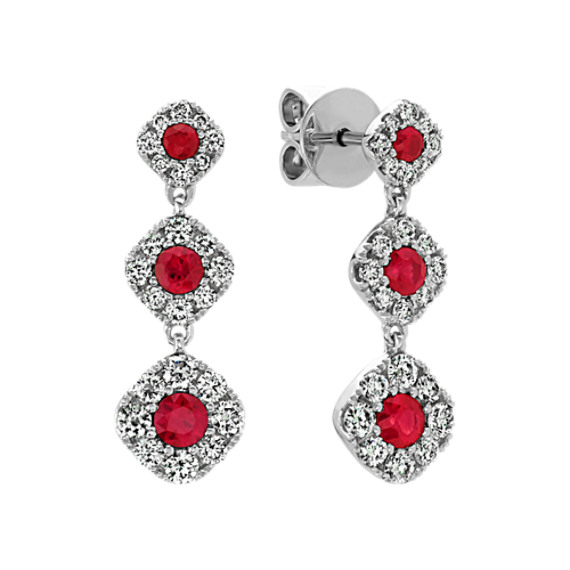 Ruby and Diamond Dangle Earrings in 14k White Gold