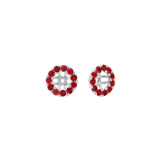 Ruby and Diamond Earring Jackets in 14k White Gold