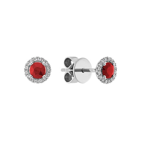 Ruby & Diamond Earrings in 14k White Gold
