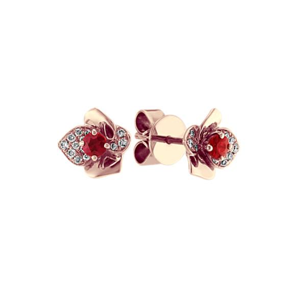 Ruby and Diamond Flower Earrings in 14k Rose Gold