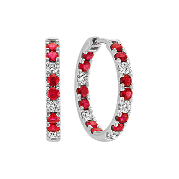 Ruby and Diamond Hoop Earrings in 14k White Gold