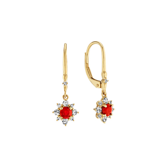 Ruby and White Sapphire Dangle Earrings
