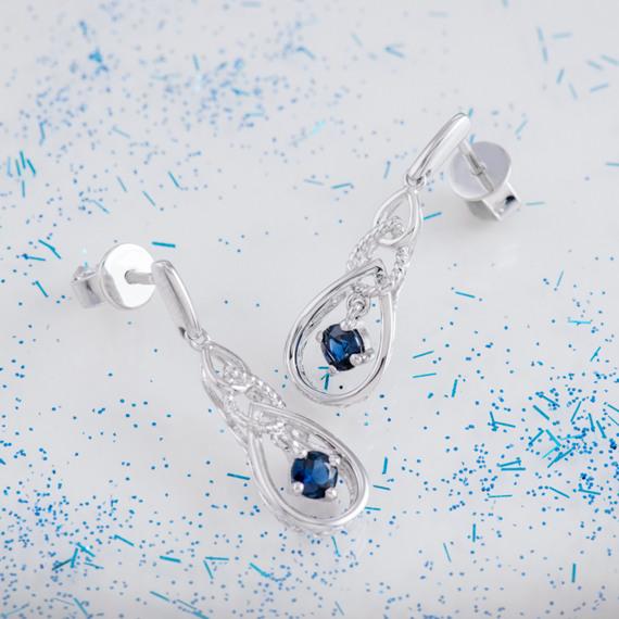 Sapphire Dangle Earrings in Sterling Silver image
