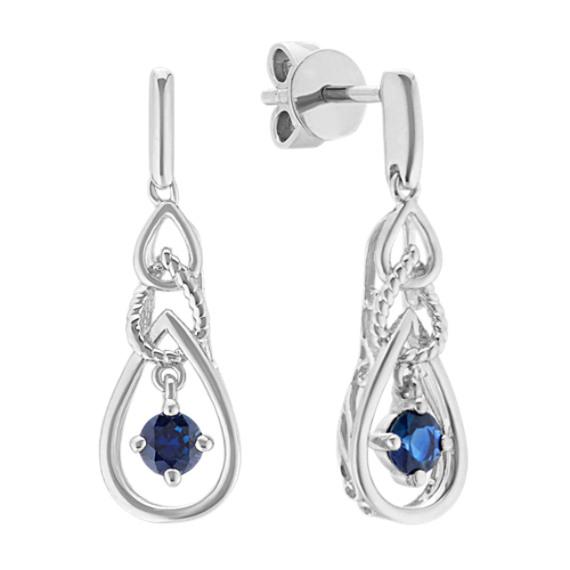 Sapphire Dangle Earrings in Sterling Silver