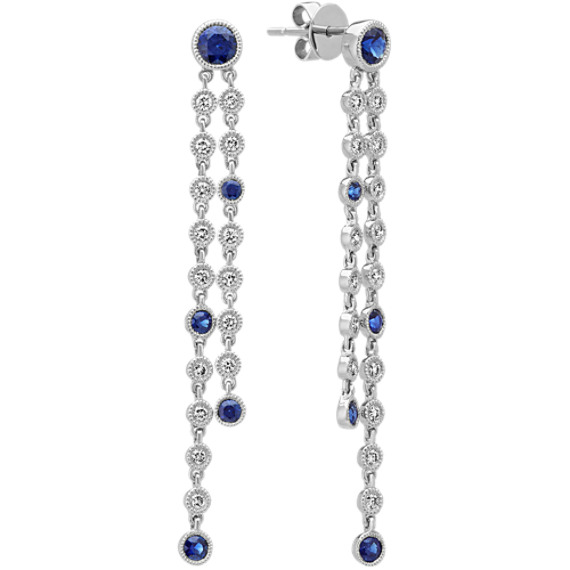 Sapphire and Diamond Dangle Earrings in 14k White Gold