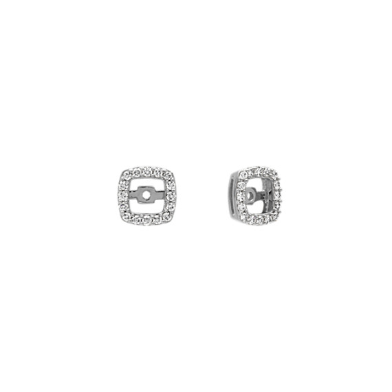 Square Diamond Earring Jackets in 14k White Gold