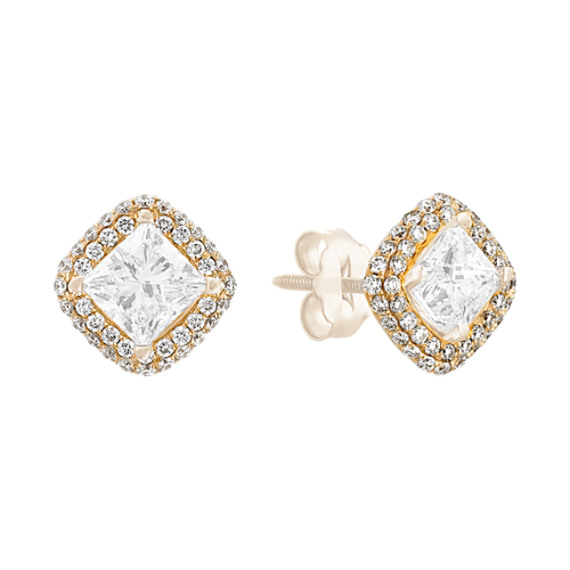 Square Diamond Earring Jackets In 14k Yellow Gold