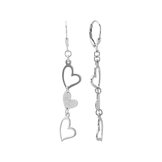 Sterling Silver Heart Dangle Earrings with Stardust and Polished Finishes