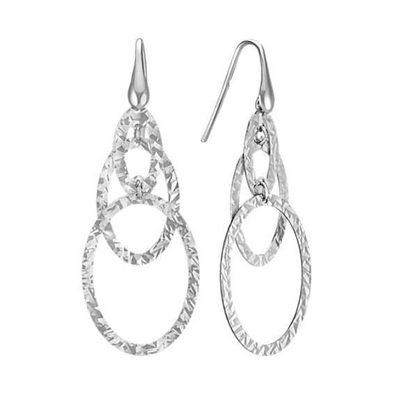 Sterling Silver Oval Hoop Dangle Earrings