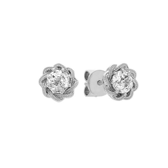 Swirl White Shire Earrings In 14k Gold