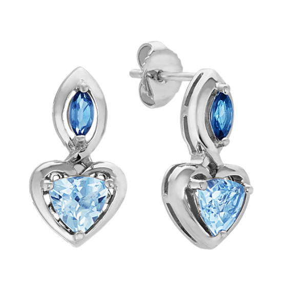Swiss Blue and London Blue Topaz Heart Earrings