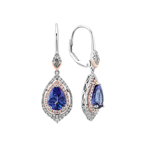 Tanzanite and Diamond Dangle Earrings