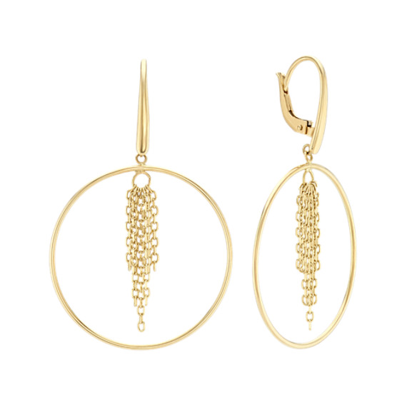 Tassel Hoop Earrings in 14k Yellow Gold