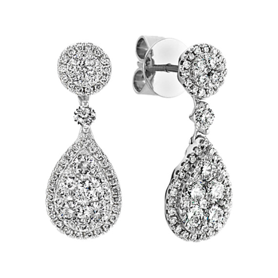 Teardrop Diamond Cer Dangle Earrings