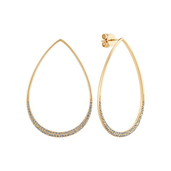 Teardrop Diamond Earrings in 14k Yellow Gold