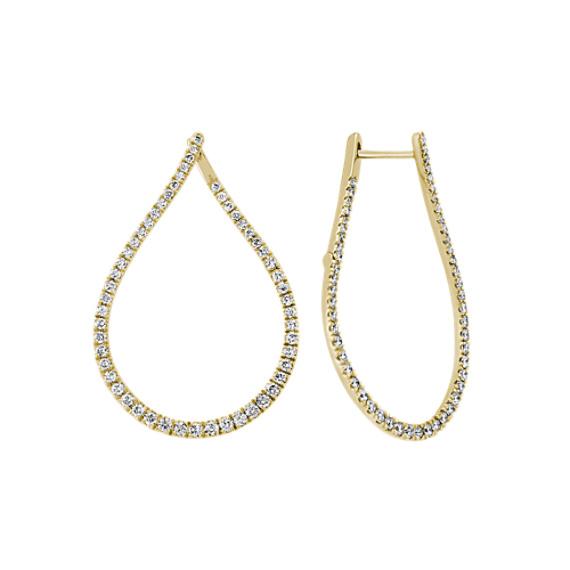 Teardrop Diamond Hoop Earrings in 14k Yellow Gold