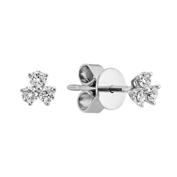 Three Stone Diamond Earrings In 14k White Gold