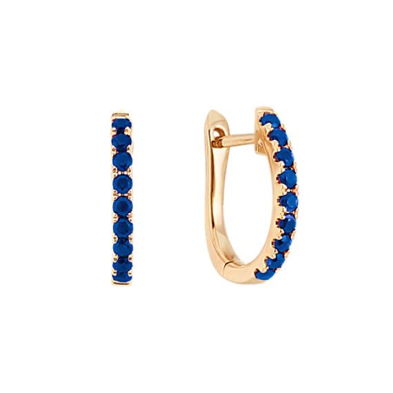 Traditional Blue Sapphire Hoop Earrings in 14k Yellow Gold