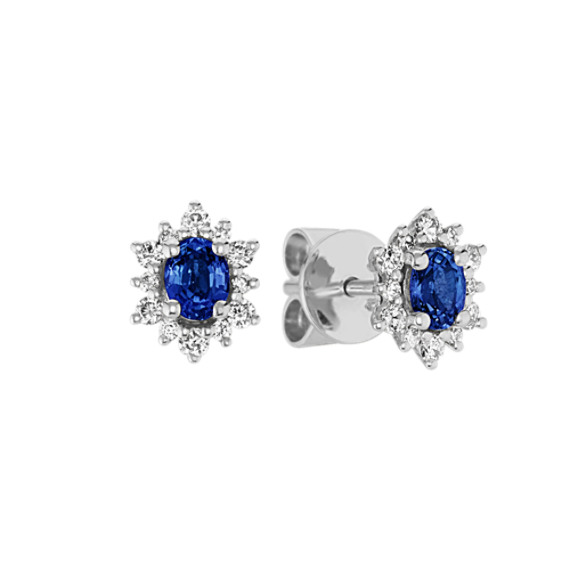 Traditional Blue Sapphire and Diamond Earrings in 14k White Gold