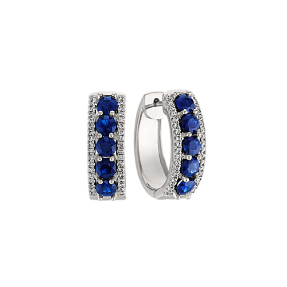 Traditional Blue Sapphire and Diamond Earrings