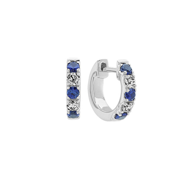 Traditional Blue Sapphire and Diamond Hoop Earrings in 14k White Gold
