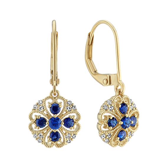 Traditional Sapphire and Diamond Dangle Earrings
