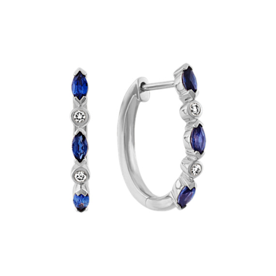 Traditional Sapphire and Diamond Hoop Earrings