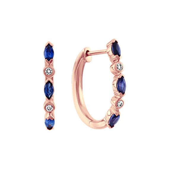 Traditional Sapphire and Diamond Hoop Earrings