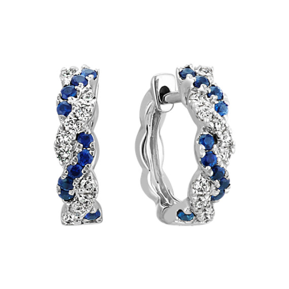 Traditional Sapphire and Round Diamond Twist Hoop Earrings