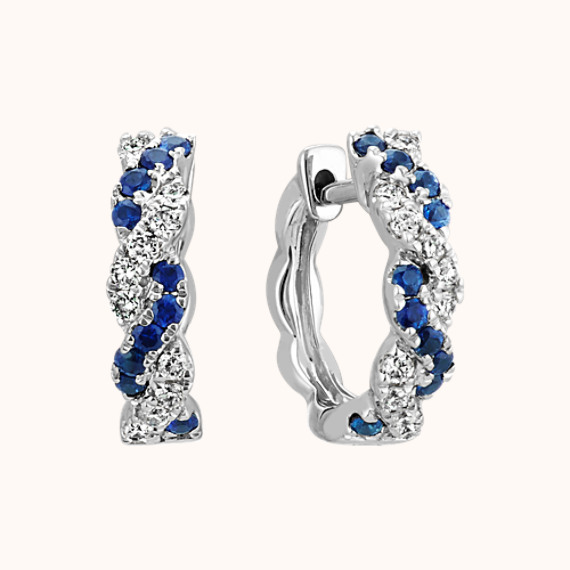 cdc76f346 Traditional Blue Sapphire and Diamond Hoop Earrings in 14k White ...
