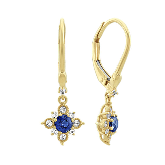 Traditional and White Sapphire Dangle Earrings in 14k Yellow Gold
