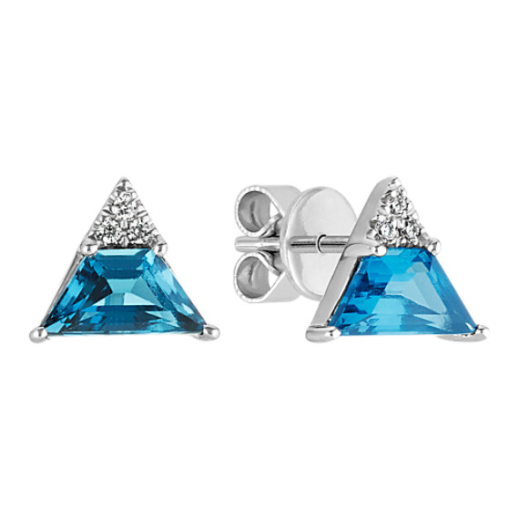 Trapezoid London Blue Topaz and Diamond Earrings in Sterling Silver