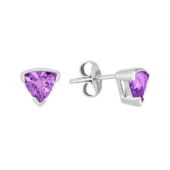 Trillion Amethyst and Sterling Silver Earrings