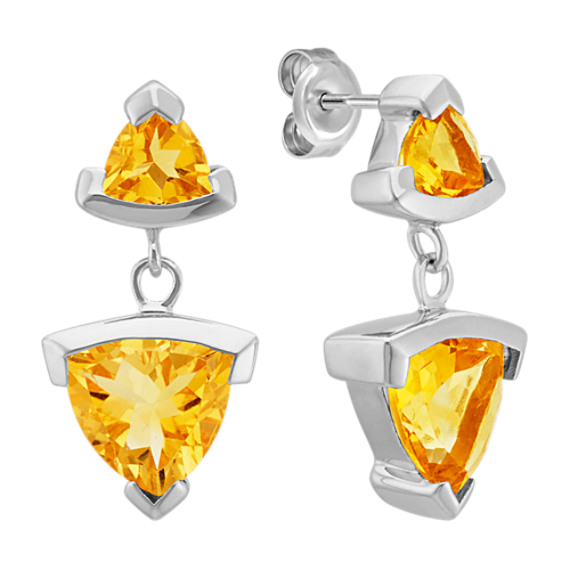 Trillion Citrine Dangle Earrings