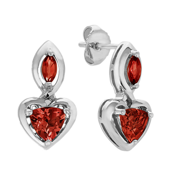 Trillion & Marquise Garnet Heart Earrings