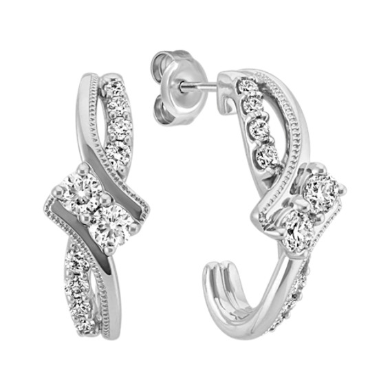 Two-Stone Round Diamond Curved Swirl Earrings with Milgrain Detailing