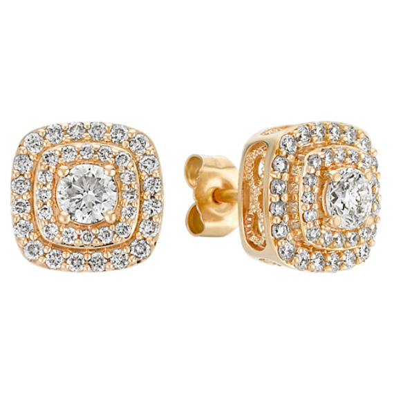 Two-Tier Cluster Diamond Earrings in 14k Yellow Gold