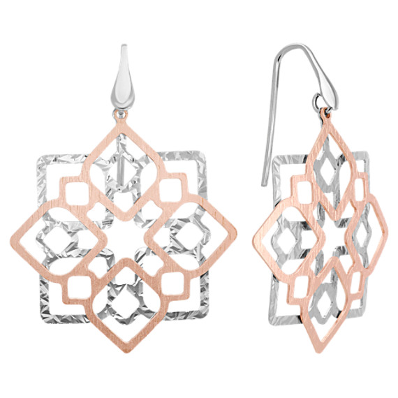 Two-Tone Sterling Silver Dangle Earrings