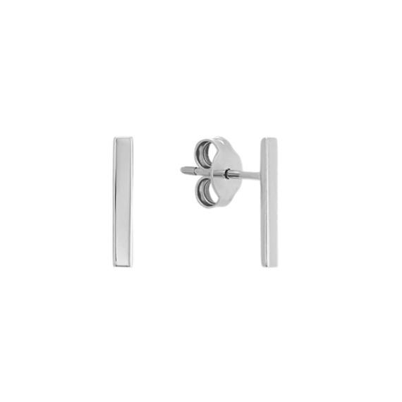 Vertical Bar Earrings in 14k White Gold