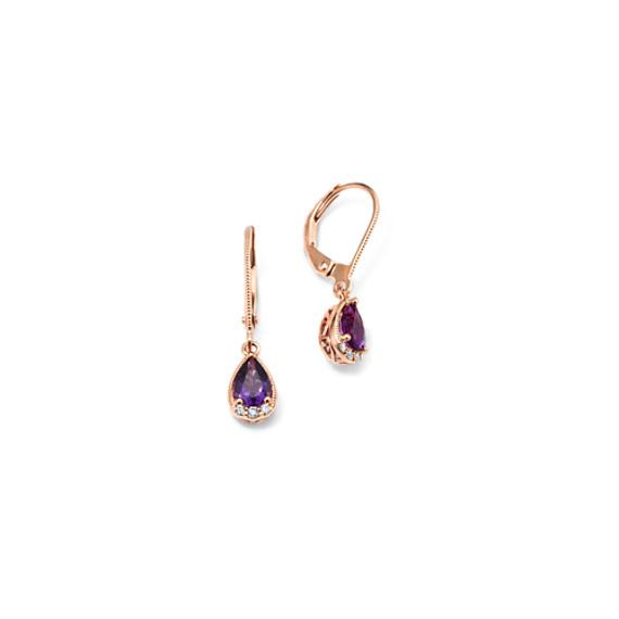 Vintage Amethyst and Diamond Dangle Earrings