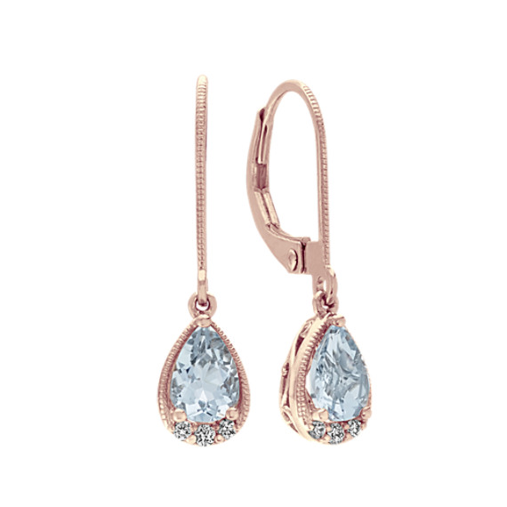 Vintage Aquamarine and Diamond Dangle Earrings