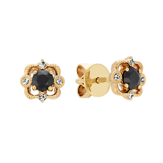 Vintage Black and White Sapphire Earrings