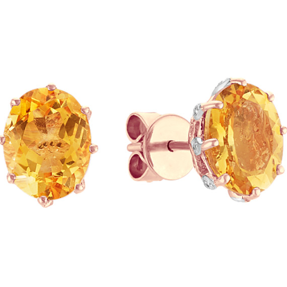 Vintage Citrine and Diamond Earrings