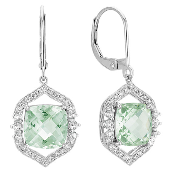 Vintage Cushion Cut GreenQuartz and Round Diamond Leverback Earrings